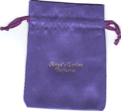 A scan of the purple satin pouches used for Anya's Garden perfume samples
