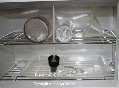 Quick and easy way to sterilize materials with UV light.