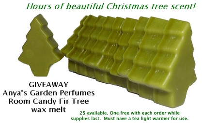 anya's garden perfumes room candy fir tree wax melt